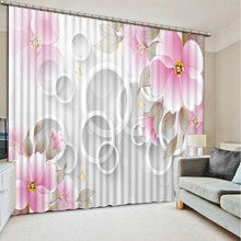 Modern elegant living room curtains circle pink flower custom made curtains 3d bedroom curtains