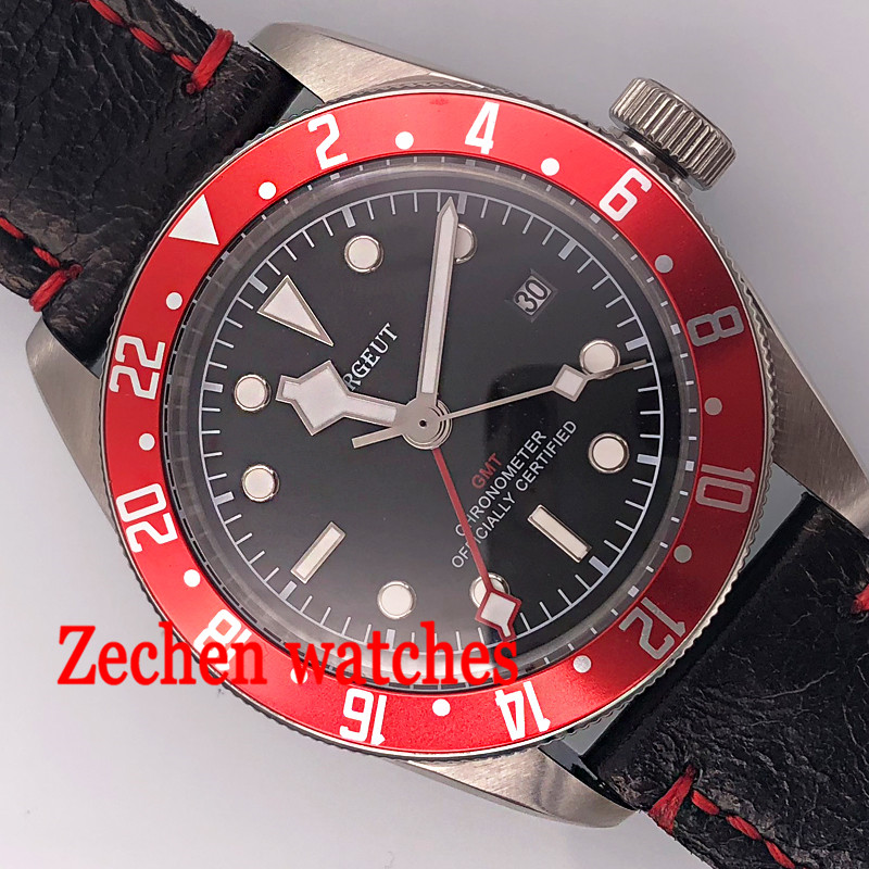 41mm Cougert mens watch Gmt auto date watch Automatic Self-Wind lunminous hands watch цена и фото