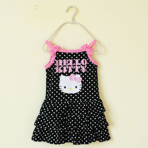In Stock retail 2014 dress newest baby girls HELLO KITTY polka dot strap knee-length summer dresses free shipping