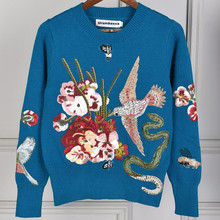 Urumbassa womens beading sweaters High quality embroidery knitted sweater Chic pullovers knitwear Tops