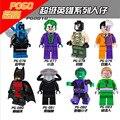 DC mini Super Heroes 8 Unids/lote Riddler Batman Joker Bane Dos cara Azul Escarabajo Negro Manta Chico Bestia figuras Juguete lepin Compatible