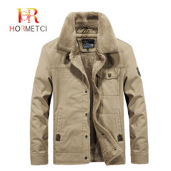 HORMETCI 2019 Autumn Winter plus velvet warm jackets men new Outerwear Tops military style men's thick coats big size