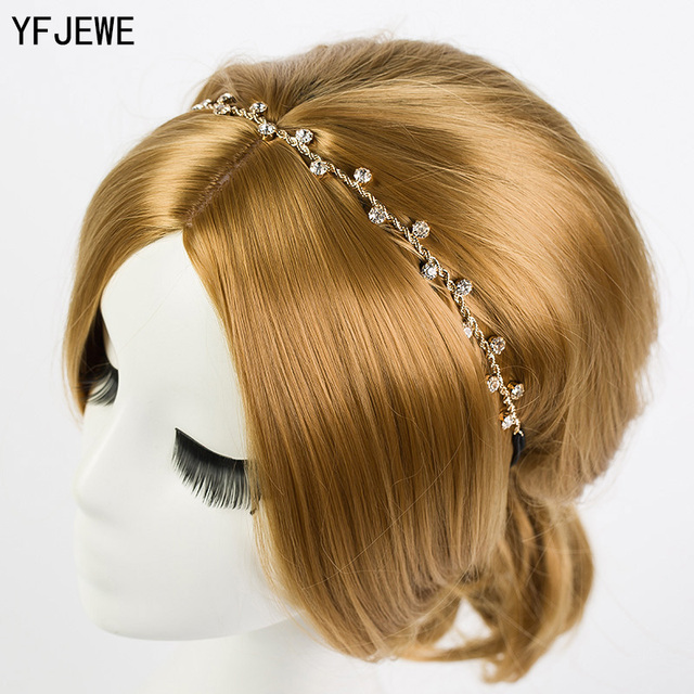YFJEWE Free Shipping Women Hair Accessories Crystal Chain Charms Head Bands Wome