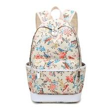 Winner impermeable bird impresión mujeres mochila bolsas escolares para adolescentes bolsa de viaje mochila de lona mochila flor femenina