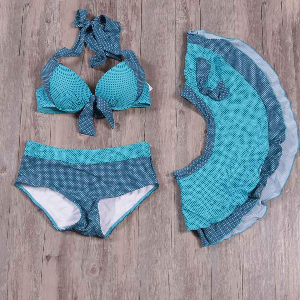 TQSKK 2019 Sexy Swimwear Women Retro Halter Padded Bikinis Dress Swimsuit Female Bikini Set Bathing Suits Beach Wear Biquini 1
