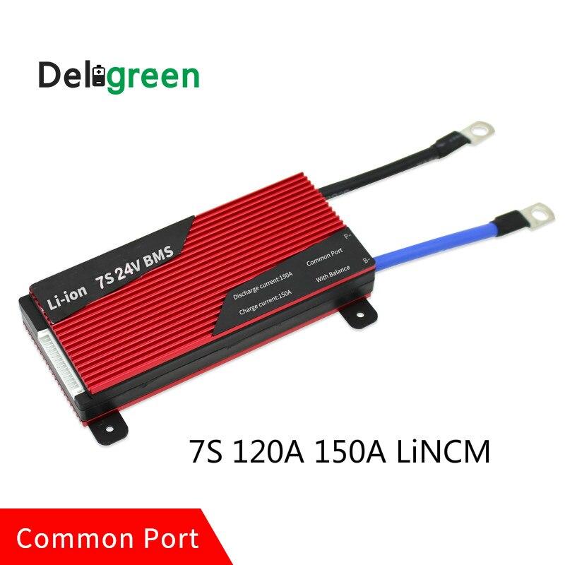 Deligreen 7S 120A 150A 24V PCM PCB BMS for 3 7V LiNCM battery pack 18650 Lithion