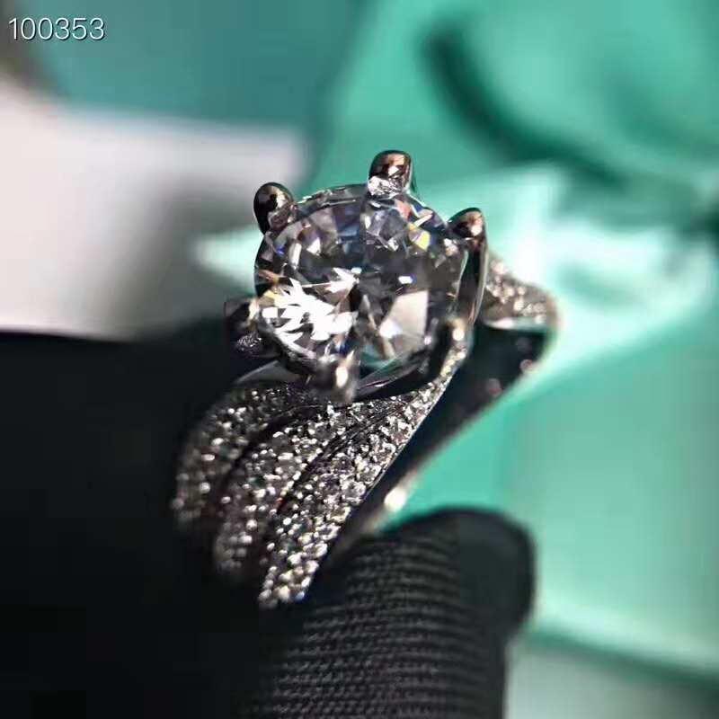 100% 925 bagues en argent Sterling pour femmes trois rangées de bague de forage Bijoux Femme Bijoux de mariée de mariage accessoires de fiançailles