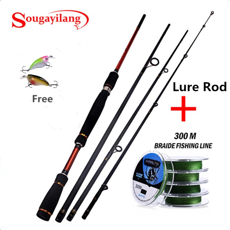 Sougayilang 2.1-2.7M Carbon Spinning Rod Travel Fishing Rod With 300M Braid Fishing Line Lure Fishing Rod and Fishing Line kit