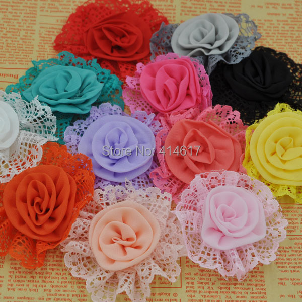 10Pcs Upick Satin Ribbon Flowers Bows Rhinestone Appliques Craft Wedding Novelty