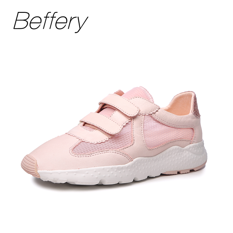 Beffery Summer shoes women Genuine Leather Fashion Casual White woman Shoes Platform Thick bottom Shoes Woman Sneakers beffery 2018 british style patent leather flat shoes fashion thick bottom platform shoes for women lace up casual shoes a18a309