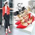 US5-8.5 Marca sensuais das mulheres Novas do salto alto Do Dedo Do Pé Apontado stilettos ladies Celebridade Lace-Up bombas Couro de Patente da mulher sapatos