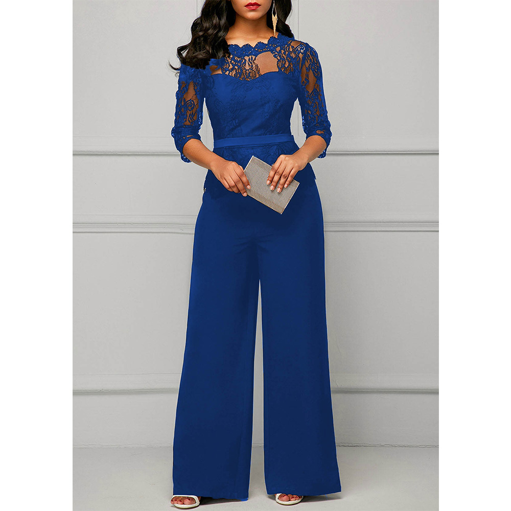 Lace <font><b>Jumpsuits</b></font> for <font><b>women</b></font> <font><b>2018</b></font> Autumn <font><b>Sexy</b></font> High Waist Palazzo 3/4 Sleeve One Piece Peplum Rompers with Long Wide Leg Pant image