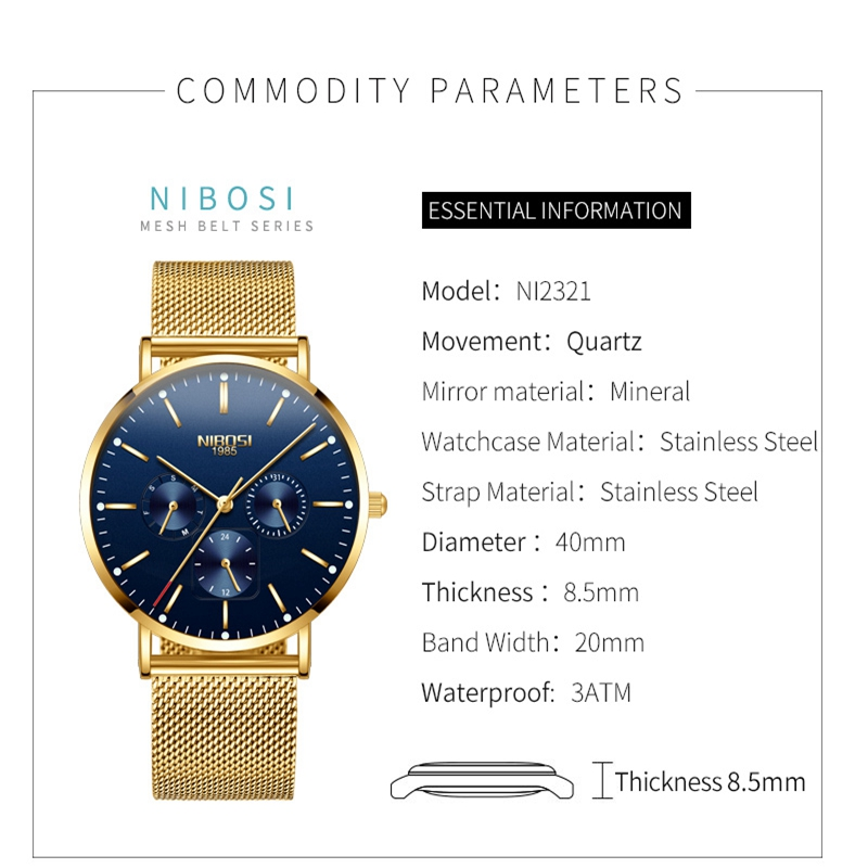 Image 2 - NIBOSI Mens Watches Slim Mesh Waterproof Minimalist Wrist Watch For Men Quartz Sport Watch Ultra Thin Clock Relogio Masculino-in Quartz Watches from Watches