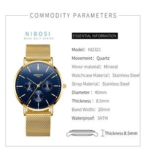 Image 2 - NIBOSI Mens Watches Slim Mesh Waterproof Minimalist Wrist Watch For Men Quartz Sport Watch Ultra Thin Clock Relogio Masculino