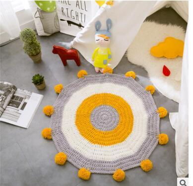 Doux coton soleil fleur tapis tapis paillasson anti-dérapant enfants jouer tapis décor à la maison