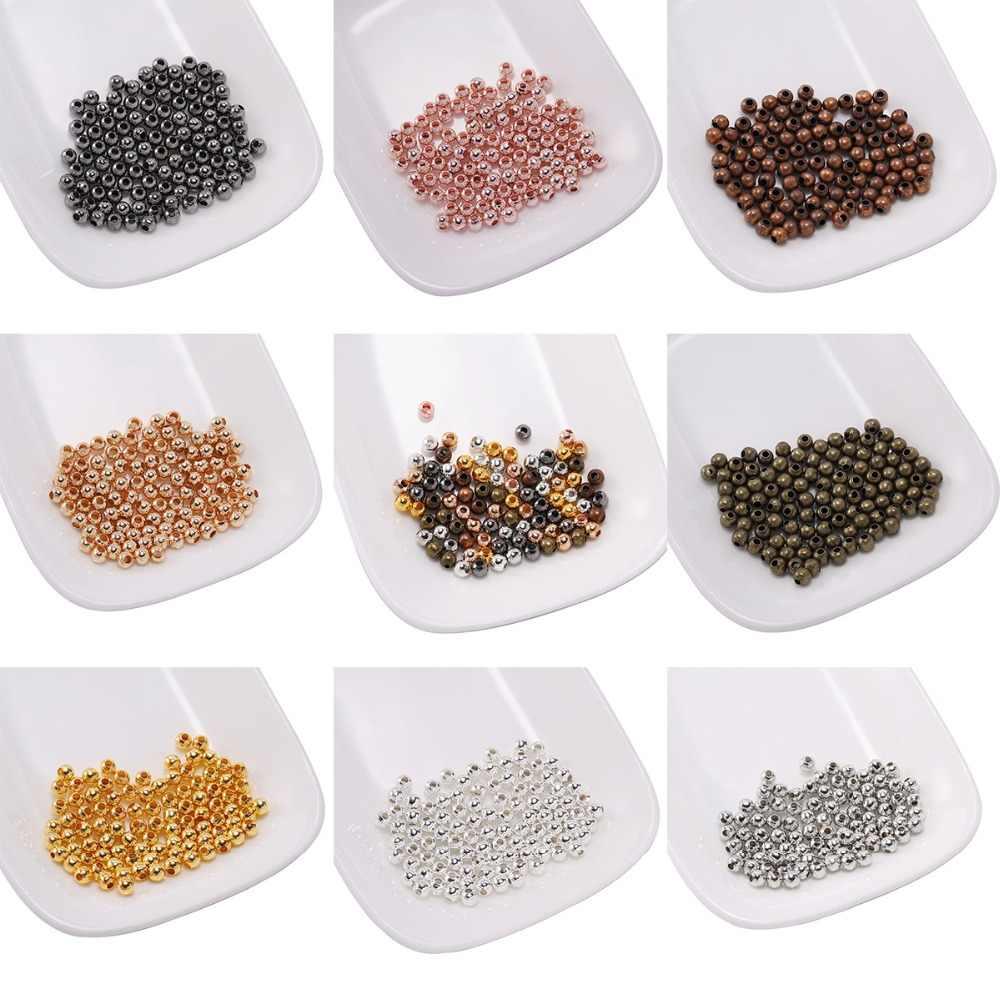 100 Pcs Manik-manik Logam Bola Halus Spacer Beads untuk Perhiasan Membuat 3 4 5 6 8 10 Mm Emas/perunggu Manik Perhiasan Temuan