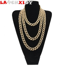 Fashion Hip Hop Mens Necklace Full Of Ice Rhinestones Heavy Cuban Chain 15 mm Display Unique  Identity Cool Jewelry