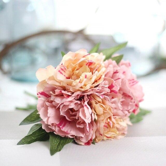 Diy Artificial Hydrangea Peony Flower Bouquet DIY Silk Wedding ...
