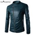 New Green Pu Leather Jacket Men 2016 Autumn Fashion Mens Slim Fit Motorcycle Biker Jacket Men Brand Veste Cuir Homme 13M0674