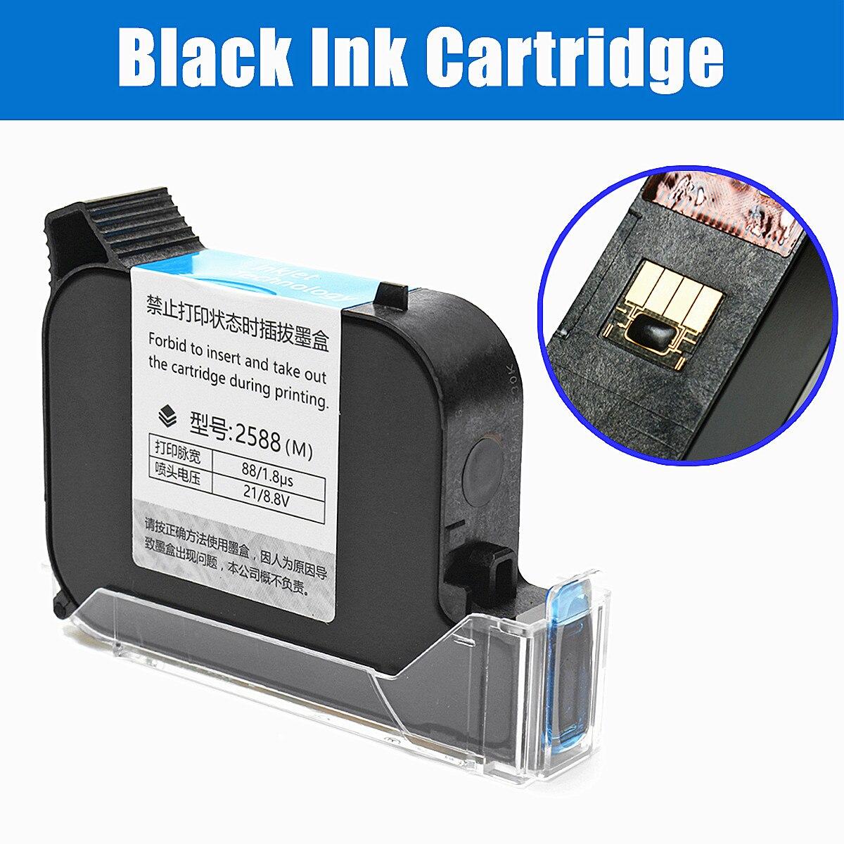 10 x 7 x2cm Black Ink Quick-drying Ink Cartridge For Inkjet Printer Coding Marking Machine 2 pcs black ink cartridge for a180 f inkjet printer