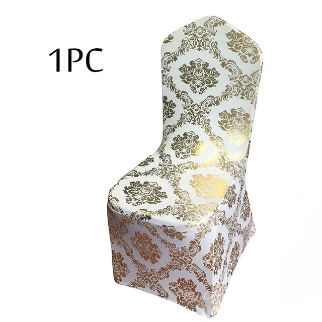 Gold Universal Chair Covers Swing For A Bedroom 1pc Size Elastic Lycra Spandex Bronzing Metallic Flower Printed Cover Wedding Banquet Party Decorations