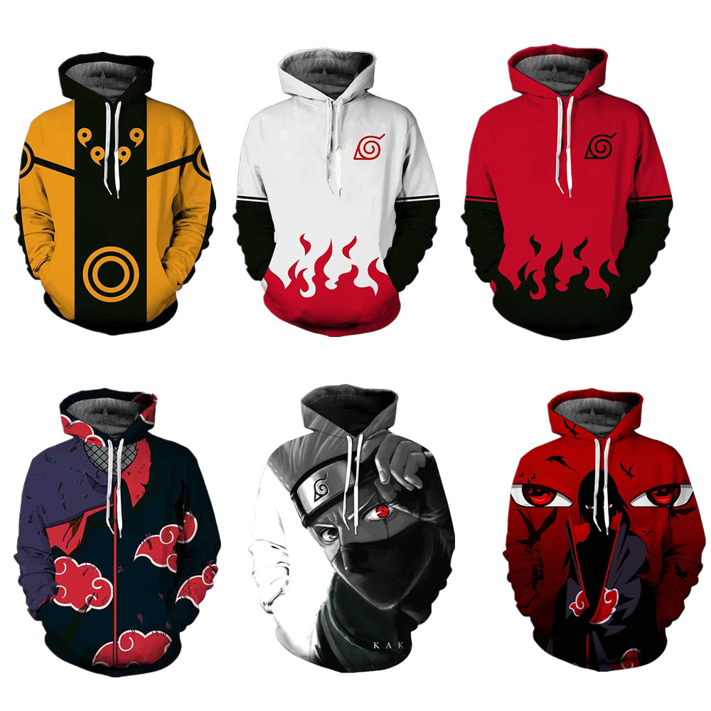 3D Print Spring Autumn Zipper Hoodies Unisex Sweatshirt Naruto series Cosplay Costume Halloween Casual Hooded Tops Costumes