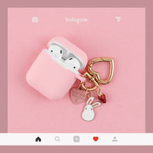 Cute Pink Silicone Case for Apple Airpods Case Accessories Bluetooth Earphone Cartoon Protective Cover Rabbit Key Ring