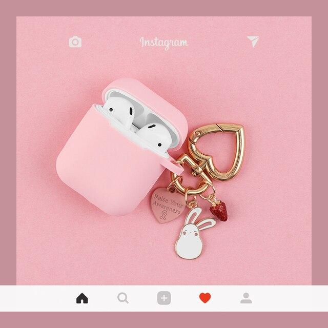 Màu Hồng Dễ Thương Silicone Rung Phụ Kiện Tai Nghe Bluetooth Chụp Tai Hoạt Hình Bảo Vệ Thỏ Móc Khóa