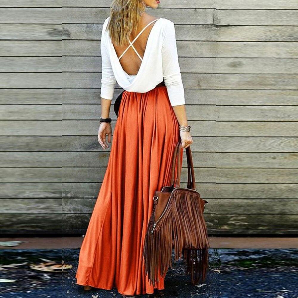 c921d7be4 2019 Boho mujer alta cintura plisada faldas elegantes color caqui sólido  gris Vintage piso-longitud ...