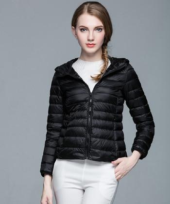 Складываемая женская зимняя куртка с длинным рукавом, однотонное женское теплое пуховое пальто, Новое Женское зимнее пальто с капюшоном Casaco Feminino - Цвет: Black