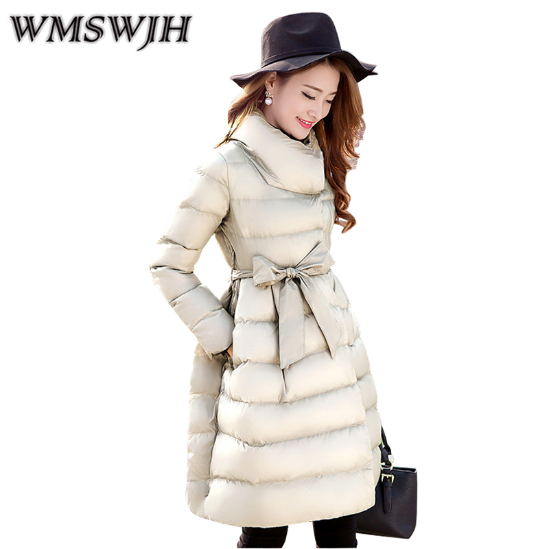 2017 Women Winter Down Cotton Coat Fashion Leisure Big yards Female Wadded Jacket Pure color lace-up New Thick Long Parka WS328 winter new fashion women coat leisure big yards thick warm cotton cotton coat hooded pure color slim fur collar jacket g2309