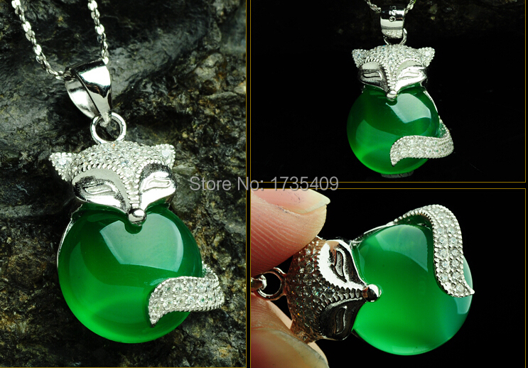 Pure 925 Sterling Silver Green Chinese 100% Natural /Jadeite Fox Pendant With CertificatePure 925 Sterling Silver Green Chinese 100% Natural /Jadeite Fox Pendant With Certificate