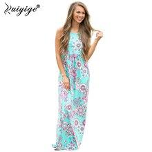 2018 ruiyige Для женщин Цветочный Boho этаж летнее платье на бретелях с карманом Повседневное Высокая талия леди пляжное платье О-образным вырезом сарафан