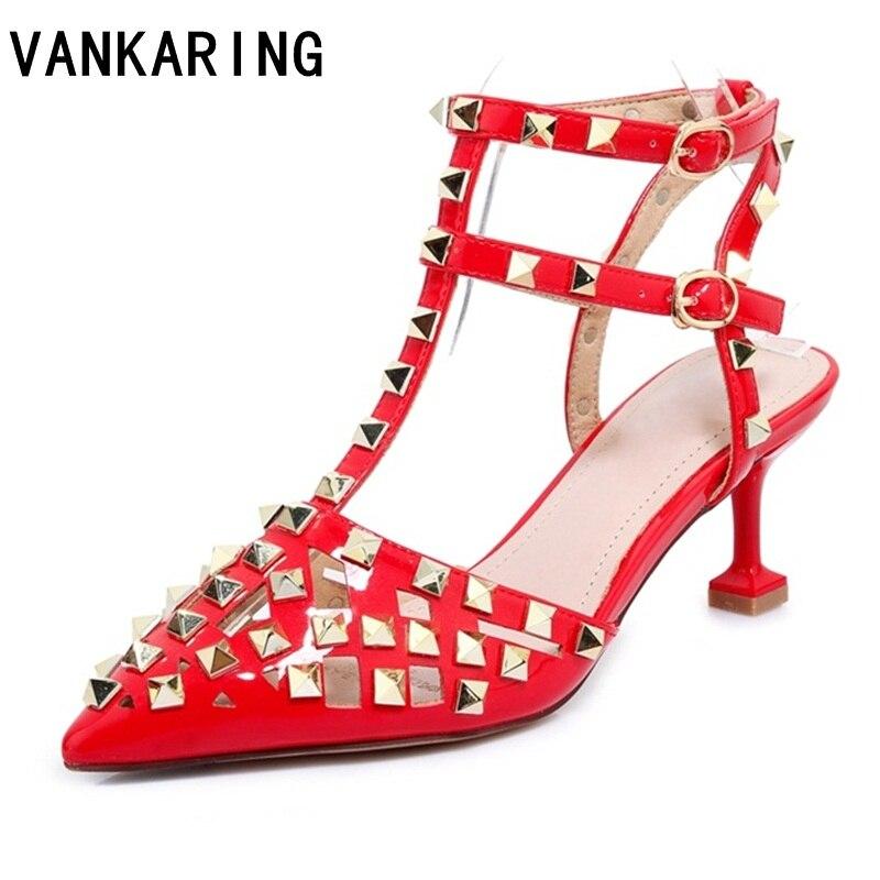 Mujeres Moda Gladiador Las Vestido Sandalias Cuero Bombas Correa Sexy apricot Genuino Remaches Marca Altos Tacones Red Verano Zapatos Tobillo De Fiesta UqwW0fY8