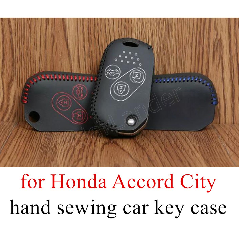 Only Red best price sale car key covers DIY hand sewing car key case Genuine leather fit for Honda Accord City