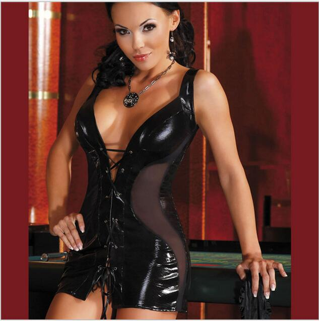 Women Faux Leather Bodycon Fetish Black Pvc Bodysuit Open -3318