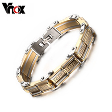 Vnox hombres de lujo pulseras y brazaletes charms pulsera para hombres regalos de joyas de plata y chapado en oro top mano de obra