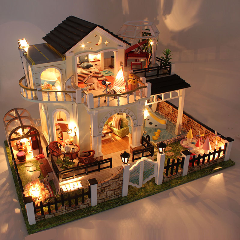 D030 DIY Mini villa model large wooden doll house miniature Furniture 3D Wooden Puzzle Building Model doorfix d030