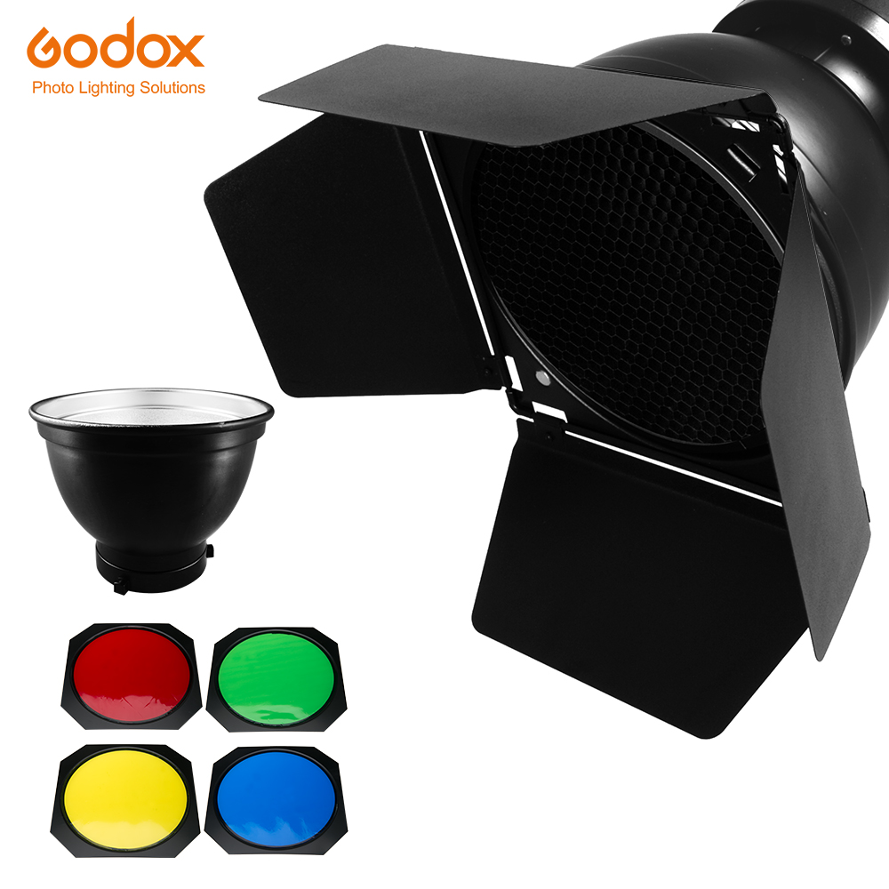 Godox BD 04 Barn Door Honeycomb Grid 4 color Filter Bowens Mount Reflector for Studio Flash