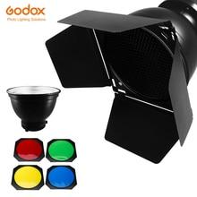 Godox BD 04 rejilla de nido de abeja para puerta de Granero 4 filtros de color + soporte Bowens Reflector estándar para Flash de estudio