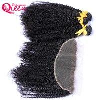 Монгольский афро кудрявый вьющиеся волосы Связки With13x4 Кружева Фронтальная застежка переплетения человеческих волос 3 Связки с закрытием В
