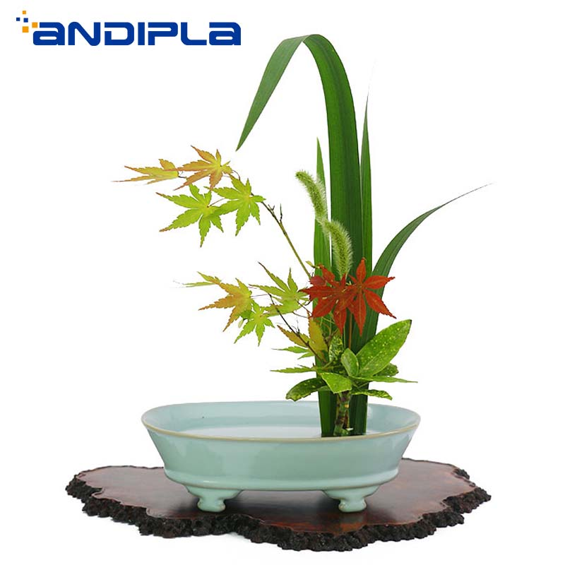 Chinese Traditional Zen Ikebana Ru Kiln Celadon Flower Pot Tabletop Vase Hydroponics Bonsai Ceramic Planters Candy Fruit PlateChinese Traditional Zen Ikebana Ru Kiln Celadon Flower Pot Tabletop Vase Hydroponics Bonsai Ceramic Planters Candy Fruit Plate