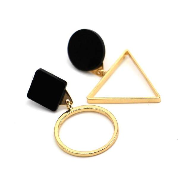 Заявление круглый треугольник геометрические серьги для женщин 2017 новый урожай простой золотой цвет ювелирных изделий бижутерии мило