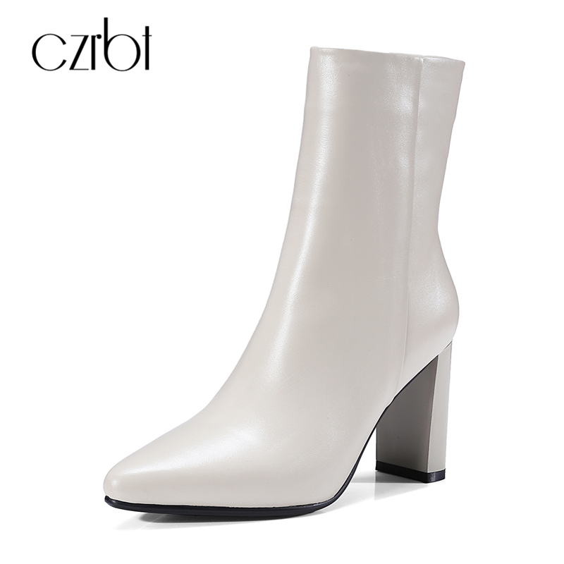 CZRBT Genuine Leather Boots Women Fashion Pointed Toe Thick Heel High Heel Boots Spring Autumn Cow Leather Women Chelsea Boots czrbt patchwork ankle boots women spring autumn cow suede leather pointed toe black high heel boots thick heel chelsea boots