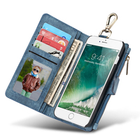 Caseme Phone Bags, 2 in 1 Combo Multifunction Card Slots Vintage Wallet Leather Flip Cases For iPhone 7 Plus 7Plus Back Cover