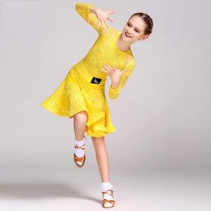 Image 2 - Mid 長袖レースメッシュ Mordern 社交ダンスドレス子供のためのセクシーなサルサタンゴスカート子供ラテンダンスのためのドレス女の子