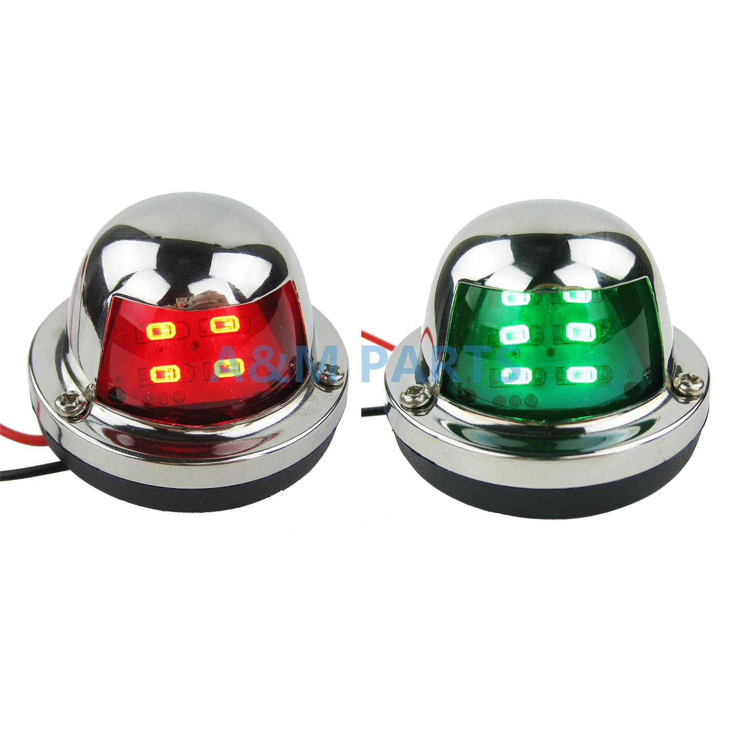 Marine Boat Yacht Bow Light 12V Stainless Steel LED Navigation Side Lights Pair