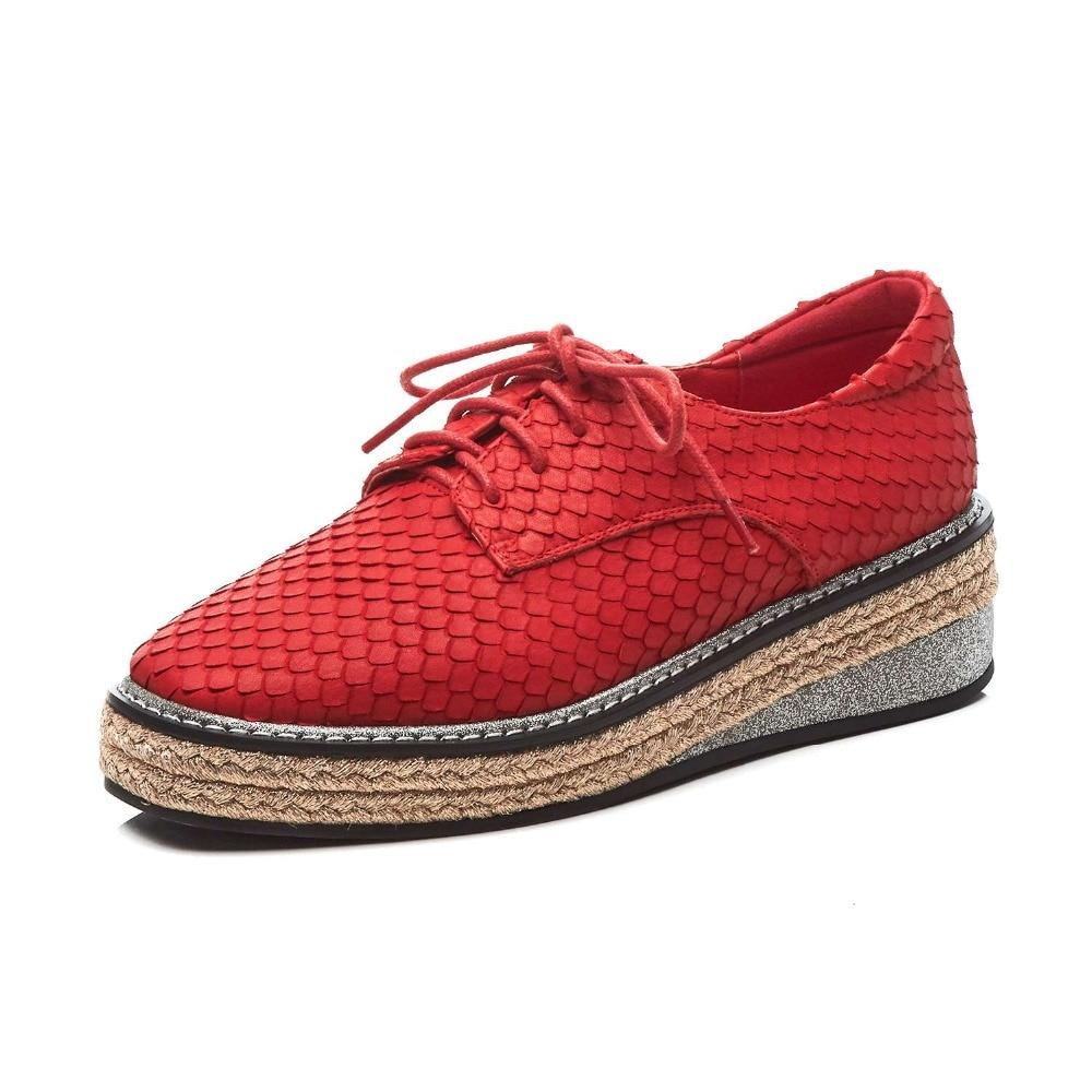 Lenksien style concis compensées plate forme patchwork bout pointu à lacets femmes pompes en cuir naturel punk rencontres chaussures décontractées L18 - 3