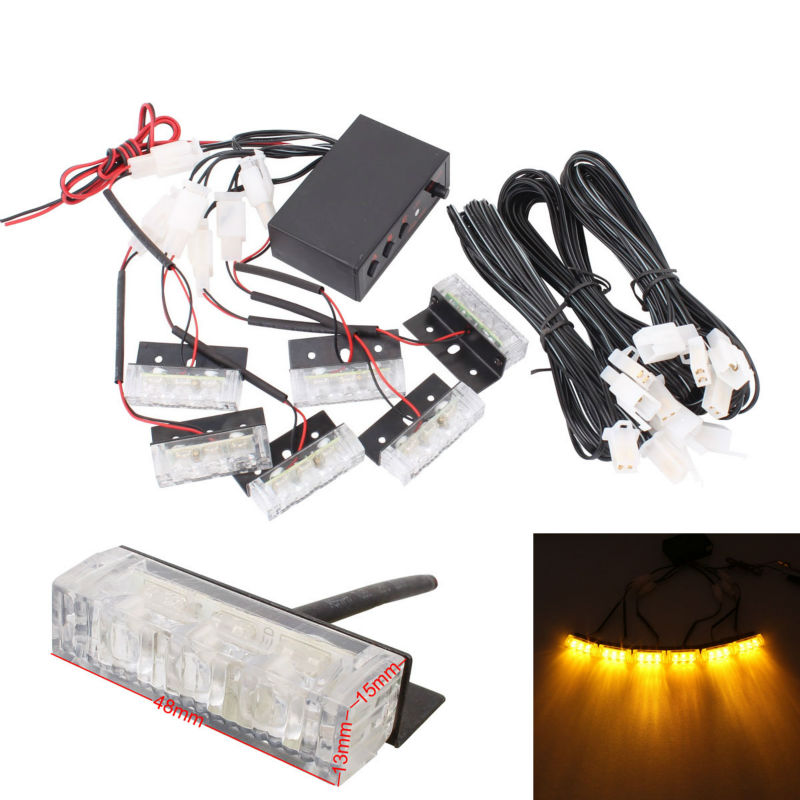Car Front Grille Warning Light Flashing 6x3 4x3 2 inch LED Waterproof amber/red+blue 3 patterns flash Lamps 12V DC
