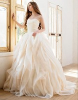 Ball Gown Wedding Dresses Long 2016 Sexy Strapless Backless Light Pink Organza Vestido De Noiva Plus